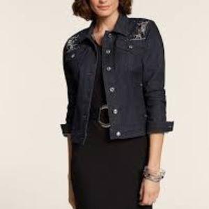 NWT Chico's Dark Glam Embellished Jean Jacket